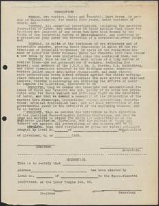 [Cleveland Sacco-Vanzetti Defense Committee] typed resolution (circular), [Cleveland, Ohio], approximately [February 15, 1925]