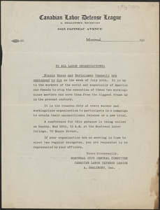 A. Shalinsky (Canadian Labor Defense League) typed document (circular), [May 1927?]