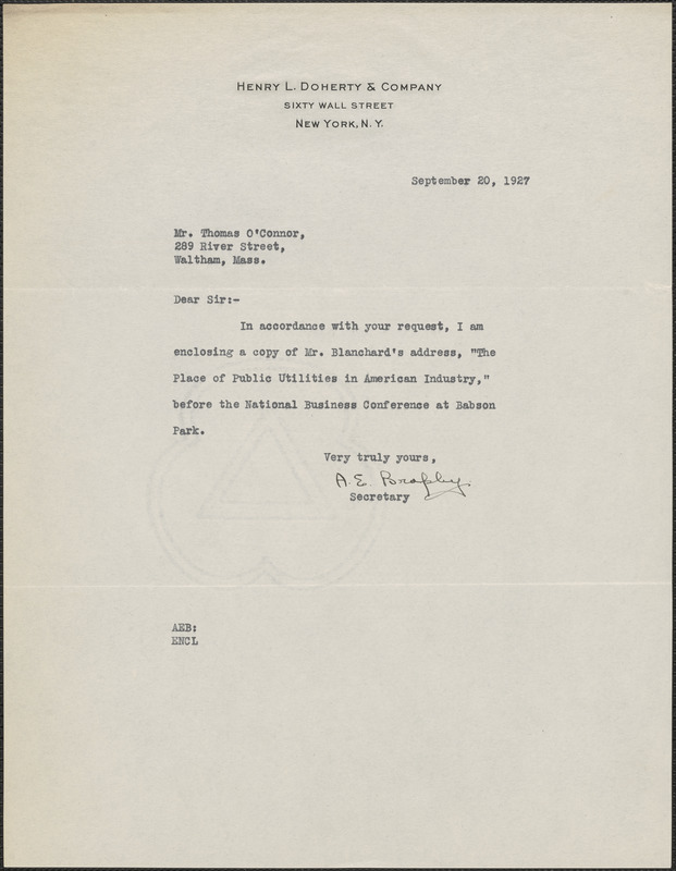 A. E. Brophy (Henry L. Doherty & Company) typed note signed to Thomas O'Connor (Citizens National Committee), New York, N. Y., September 20, 1927