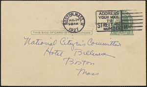 Paula Holladay autograph note signed (postcard) to [Citizens National Committee for Sacco and Vanzetti], Boston, Mass., August 24, 1927