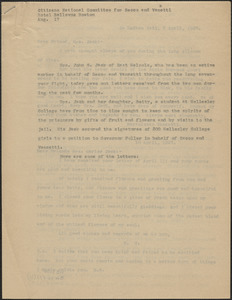 Citizens National Committee for Sacco and Vanzetti press release (copy), Boston, Mass., August 17, [1927]