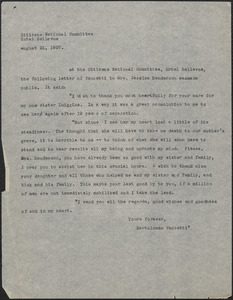 Citizens National Committee for Sacco and Vanzetti press release (copy), [Boston, Mass.], August 21, 1927
