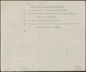 [Citizens National Committee for Sacco and Vanzetti] typed document (copy),[July-August 1927]: Functions of organizing committee