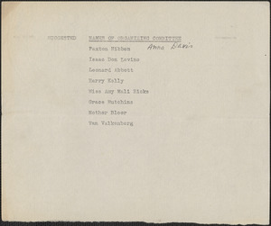 [Citizens National Committee for Sacco and Vanzetti] typed document (copy),[July-August 1927]: Suggested names of organizing committee