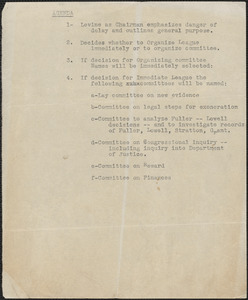 [Citizens National Committee for Sacco and Vanzetti] typed document (copy) [Boston, Mass., July-August 1927]: Agenda