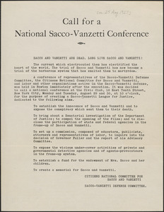 Citizens National Committee for Sacco and Vanzetti and Sacco-Vanzetti Defense Committee printed document (copy), [Boston, Mass.], approximately [August 25, 1927]: Call for a National Sacco-Vanzetti Conference