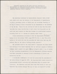 Aldino Felicani and Gardner Jackson (Sacco-Vanzetti Memorial Committee) typed document signed to the Joint Judiciary Committee of Massachusetts, Boston, Mass., March 30, 1959