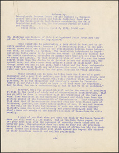 Michael A. Musmanno typed document (copy) to the Joint House and Senate Judiciary Committee of the Massachusetts Legislature, Boston, Mass., April 2, 1959