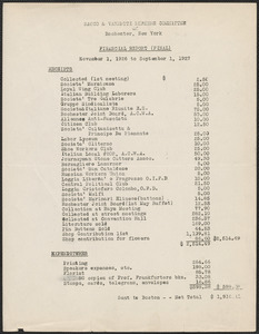 Sacco-Vanzetti Defense Committee of Rochester, N. Y. typed document, Rochester, N. Y., approximately September 1927: Financial report (final), November 1, 1926 to September 1, 1927