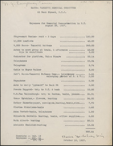 Clarina Michelson (Sacco-Vanzetti Memorial Committee) typed document, New York, N. Y., October 10, 1927 : Expenses for memorial demonstration in N. Y., August 29, 1927