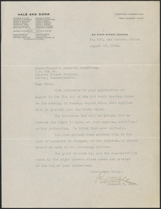 Richard W. Hale typed letter signed to Sacco-Vanzetti Memorial Committee, Bar Harbor, Me., August 16, 1932