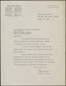 Richard W. Hale typed letter signed to Sacco-Vanzetti Memorial Committee, Bar Harbor, Me., August 21, 1932