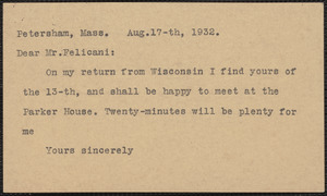 [Norman Hapgood] typed note (postcard) to [Aldino] Felicani, Petersham, Mass., August 17, 1932