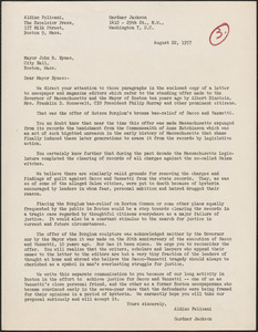 Aldino Felicani and Gardner Jackson typed letter to John B. Hynes, Boston, Mass., August 22, 1957