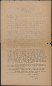 Evert Van Ee (Sacco-Vanzetti United Front Defense Conference) typed letter (circular), Seattle, Wash., October 1927