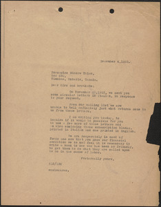 A. L. Carpenter [Sacco-Vanzetti Defense Committee] typed letter (copy) to Porcupine Miners Union, [Boston, Mass.], December 4, 1923