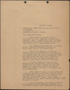 A. L. Carpenter [Sacco-Vanzetti Defense Committee] typed letter (copy) to Atlas Local Union 4687, United Mine Workers of America, [Boston, Mass.], December 4, 1923
