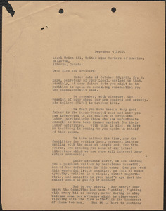 A. L. Carpenter [Sacco-Vanzetti Defense Committee] typed letter (copy) to Local Union 431, United Mine Workers of America, [Boston, Mass.], December 4, 1923