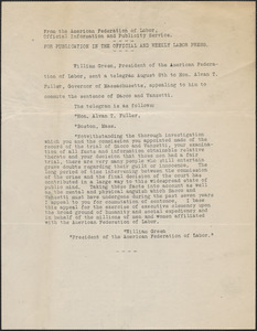 American Federation of Labor, Official Information and Publicity Service press release, [Washington, D. C.], August 8, [1927]