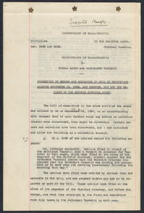 Sacco-Vanzetti Case Records, 1920-1928. Prosecution Papers. Correction of Errors and Omissions in Bill of Exceptions allowed September 13, 1924 and Printed, but Not Yet Entered in the Supreme Judicial Court, [1924]. Box 24, Folder 6, Harvard Law School Library, Historical & Special Collections