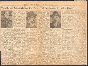 Sacco-Vanzetti Case Records, 1920-1928. Prosecution Papers. Clippings, 1921, 1927. Box 24, Folder 9, Harvard Law School Library, Historical & Special Collections