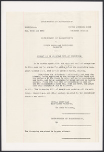 Sacco-Vanzetti Case Records, 1920-1928. Prosecution Papers. Correction of Original Bill of Exceptions, n.d. Box 24, Folder 18, Harvard Law School Library, Historical & Special Collections