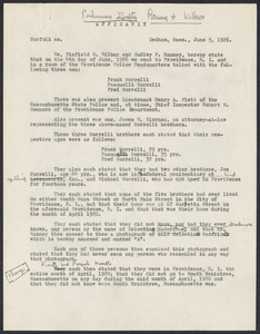 Sacco-Vanzetti Case Records, 1920-1928. Prosecution Papers. Affidavit of Wilbar and Ranney re: Madeiros, June 5, 1926. Box 25, Folder 3, Harvard Law School Library, Historical & Special Collections
