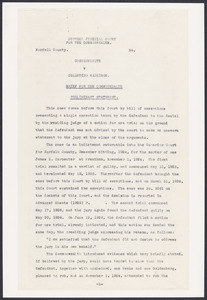 Sacco-Vanzetti Case Records, 1920-1928. Prosecution Papers. Commonwealth v. Celestino Madeiros: Brief for the Commonwealth; Defendant's Bill of Exceptions, 1926. Box 25, Folder 10, Harvard Law School Library, Historical & Special Collections