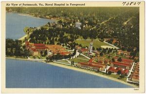 Air view of Portsmouth, Va., Naval Hospital in foreground