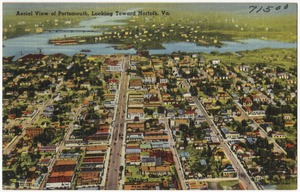 Aerial view of Portsmouth, looking toward, Norfolk, Va.