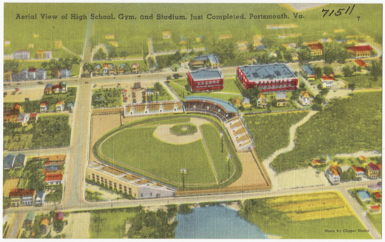 Aerial view of high school, gym, and stadium, just completed, Portsmouth, Va.