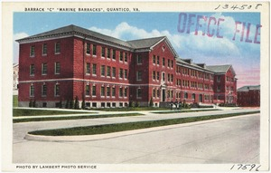 "Barrack ""C,"" ""Marine Barracks,"" Quantico, VA."