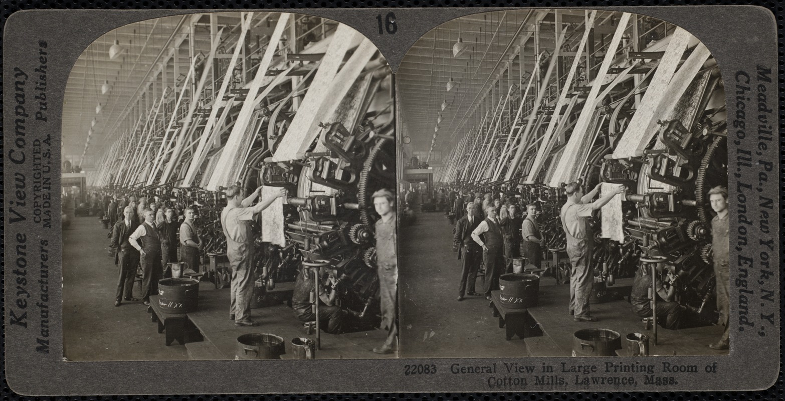 View of printing room, cotton mills, Lawrence, Mass.