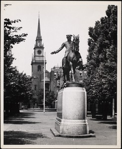 Statue of Paul Revere at the rear of the Old North Church which faces Salem Street