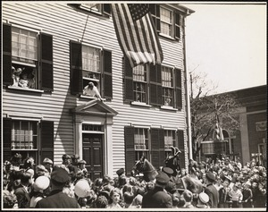 "Paul Revere waking ""Capt. Hall"" - Capt. Hall home, Medford, Mass."