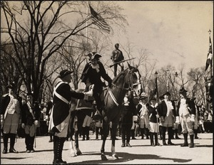 Paul Revere greeted at Lexington Green by Minute Men
