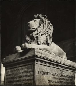 Stone lions of the stairway of the Boston Public Library