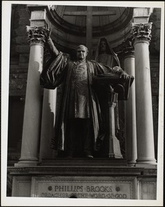 Saint-Gaudens statue of Phillips Brooks and Christ, still adversely criticized in Boston