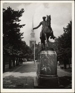 """New tower,"" Old No. Church, Boston. Paul Revere on horse"
