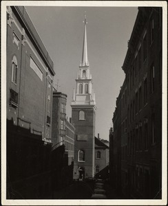 New steeple on Old North Church, Oct. 1955