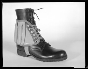3/4 view, weight spat on combat boot, ARIEM, Newcomb