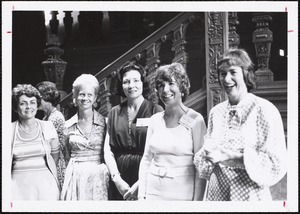 56, Left to right, Joanne Silva McCarty, Eileen Nemby Bleiler, Jane Adams Garlitz, Sue Taipale Zottoms[?], Judith Howe Bryan, N.P. Linda Piering Devlin, Judy Nims Hunt