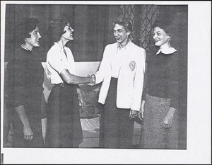 Left to right: Ann Gregg '59, Mary C. Booth '59, Mary Gregory '58, Fredericka Kirsch[?] '58