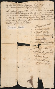 Call of Payment to Soldiers, 1781