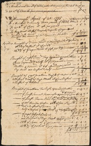 Account of Provisions Paid By the Town, 1775