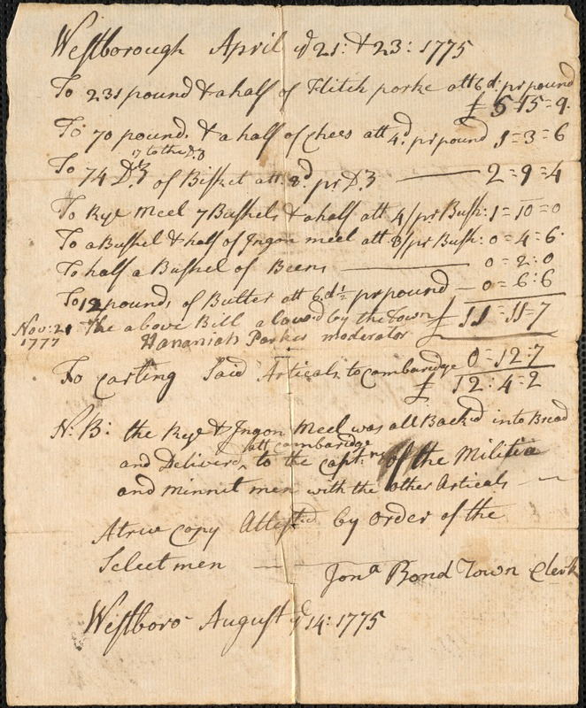 Accounts for Supplies and Services, 1775-1777
