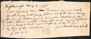 Orders for Payments for Supplies and Services, 1775-1779, n.d.