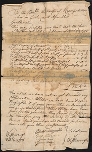 Complaint to the House of Representatives from Selectmen Regarding the Neglect of Payment for Supplies, 1778