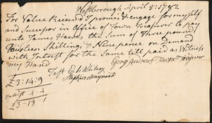 Promissory Notes Issued by the Town, 1782-1783