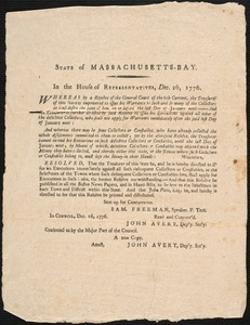 Finance Resolutions from the State of MA, 1776-1784